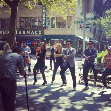 gangnam style on the street in soho psy