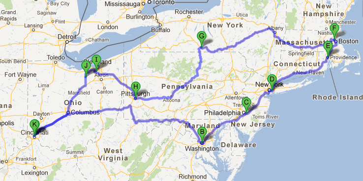 eastern us road trip route