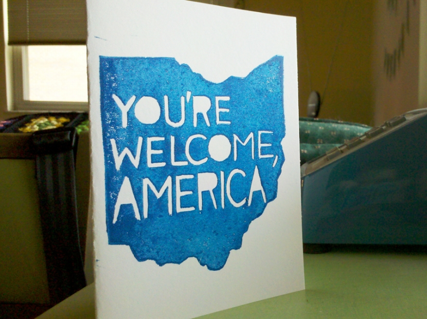 ohio election card: you're welcome, america, linocut card