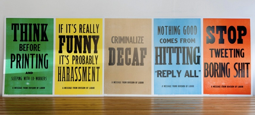 division of labor posters, letterpress