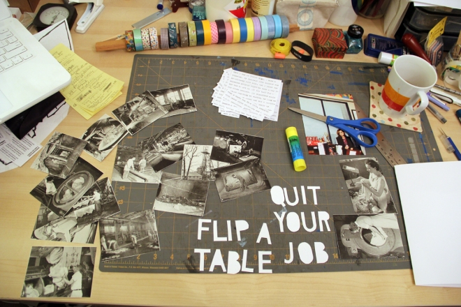 my desk, making a zine, collage in progress