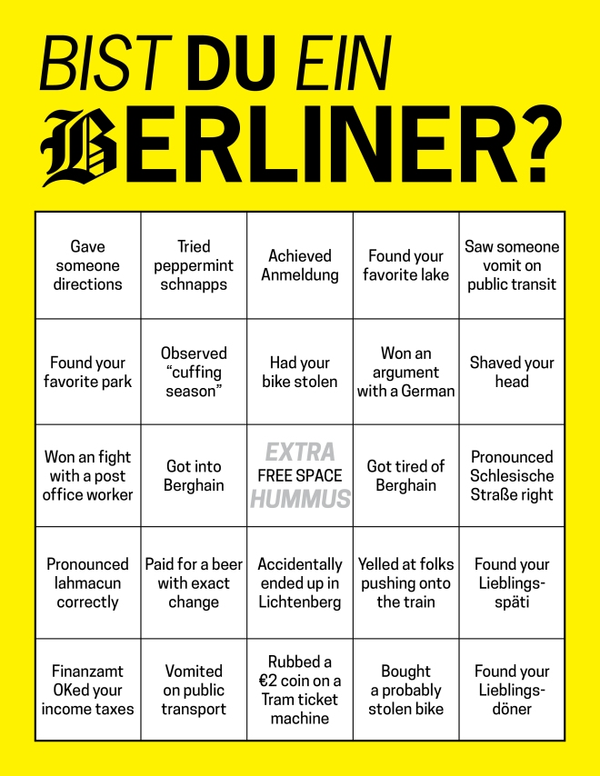bingo card to see if you're a real berliner